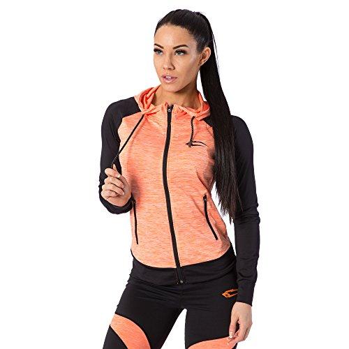 SMILODOX Kapuzenpullover Damen | Zip Hoodie für Sport Fitness Training & Freizeit | Trainingsjacke - Sportpullover - Sweatjacke - Kapuzenpulli mit Reißverschluss, Farbe:Orange, Größe:L (Outfit Shirt Jacke)