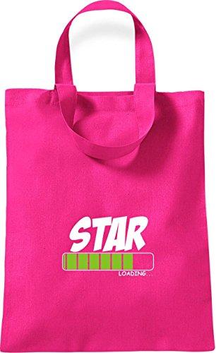 ShirtInStyle kleine Baumwolltasche STAR Loading Farbe Rot pink