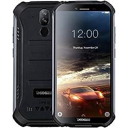 DOOGEE S40 Android 9,0 Télephone Portable Incassable Debloqué, 4G Smartphone Antichoc Etanche IP68 / IP69K 5,5'' Double SIM, 4650mAh, Cameras 8MP+5MP, 2GO+16GO, NFC Empreinte Digitale Face ID - Noir