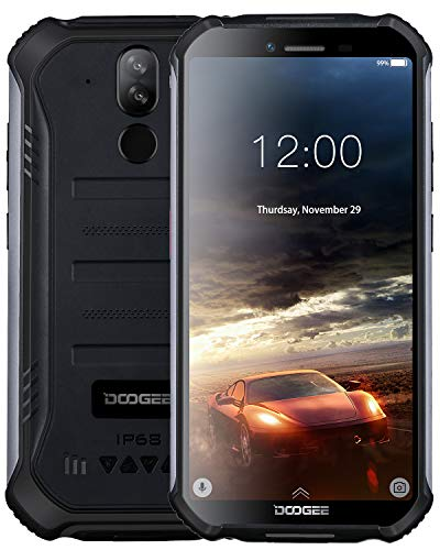 "DOOGEE S40 Outdoor Smartphone Android 9,0, 4G Handy ohne Vertrag Dual SIM, IP68/IP69K Wasserdicht, 5,5\"" 4650mAh, Quadcore 2GB RAM 16GB ROM, 8MP+5MP Dual Kamera, NFC Fingerabdruck Gesicht ID - Schwarz"