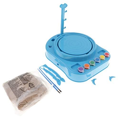 Homyl Gioco del Tornio Elettronico del Tornio del Giocattolo Strumento di Ceramica per Sviluppo di AbilitÀ Motorie per Bambini - Blue