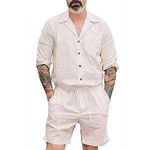 Minetom Herren Kurz Jumpsuit Sommer Langarm Stehkragen Einfarbig Overall mit Knöpfen Freizeit Mode Strand Streetwear