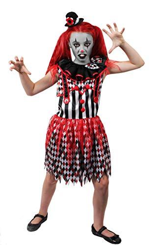 ILOVEFANCYDRESS Kinder Clown HARLEKIN MÄDCHEN KOSTÜM VERKLEIDUNG=ERHALTBAR MIT ODER OHNE ZUBEHÖR=Halloween -Fasching -Karneval -Clown Prank = (Mime Kostüm Mädchen)