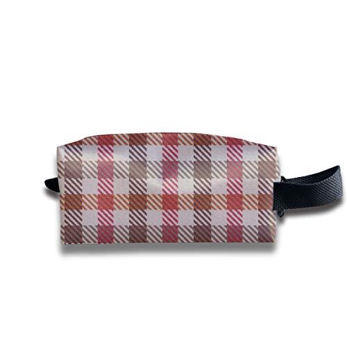 Asymmetrische Plaid Browns und Red_17438 tragbare Reise Make-up Kosmetiktaschen Organizer Multifunktions Tasche Taschen für Unisex -