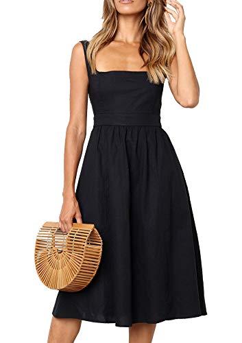 Damen Kleider Sommer A-Linie Kleid Casual Elegant Ärmellos Strand Vintage Midi Kleid (bk,m) Casual Sommer Kleid