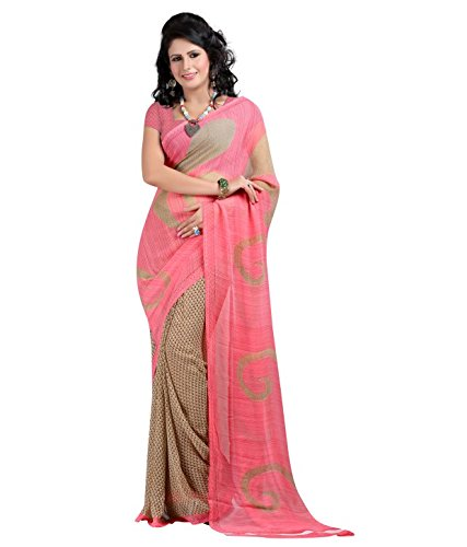 Vipul Women's Pink & Beige Casual Wear Georgette Saree (Best Gift For Mummy Mom Wife Girl Friend, Exclusive Offers and On Sale Discount)  available at amazon for Rs.197