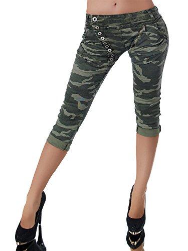 Damen 3/4 Capri Jeans Hose Shorts Damenjeans Hüftjeans Caprijeans Boyfriend N123, Größen:38 (M), Farben:Camouflage-Khaki