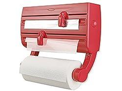 Leifheit Wandrollenhalter Parat F2 ComfortLine-Serie für insgesamt 3 Rollen, Folienschneider mit Abstellfläche für Gewürze und abnehmbarem Küchenrollenhalter, rot