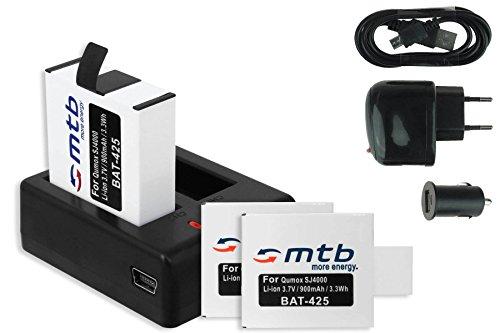 3x Akku + Dual-Ladegerät (Netz+Kfz+USB) für Qumox SJ4000, SJ4000+, SJ5000, SJ5000+, SJ5000X Elite / SJCam M10(+), X1000 / DBPower EX4000, EX5000 ... s. Liste!