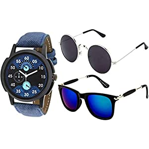 Y&S UV Protected Unisex Sunglasses Combo with Watch (Blue)