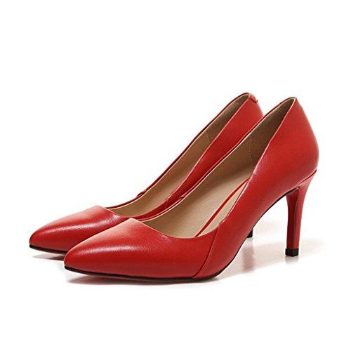 W&LMFine con Tacchi alti appuntito Scarpe Bocca poco profonda Basso aiuto scarpa Scarpe singole Red