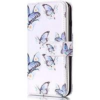 Funda iPhone 5C ,Surakey Marco de Cuero de la PU Flip Protectora de Cuerpo Completo Case Cover Slim Case de Estilo Billetera Carcasa Libro de Cuero para iPhone 5C ,Mariposa Flor Blanca