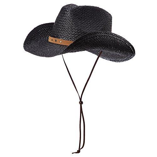 (SIGGI unisex Cowboy Hüte Strohhut Formbare Krempe mit Kinnriemen schwarz)