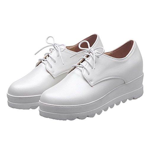 VogueZone009 Femme à Talon Correct PU Cuir Couleur Unie Lacet Rond Chaussures Légeres Blanc