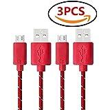 Demarkt Ligne Données USB Nylon Tressé Câble Variété Couleurs Durable Ligne De Données Pour Samsung Galaxy, HTC et Autres Smartphones Android Rouge 3PCS