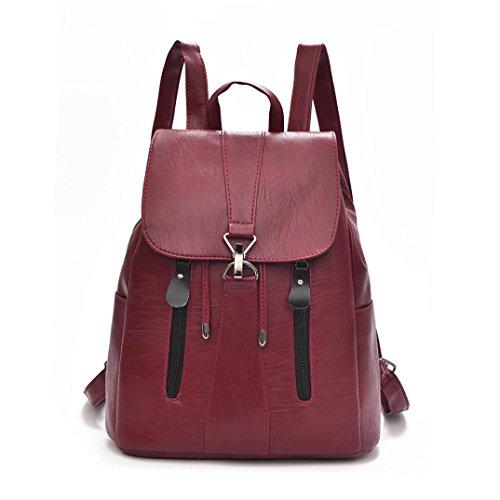 SANFASHION Damen Mode Leder Rucksack weibliche Mochila große Kapazität Schultasche
