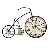 Orologio da Parete Bicicletta/Orologio da Parete Vintage, Numeri Romani in Ferro battuto Orologio Decorativo, Adatto per Soggiorno, Sala da Pranzo, Bar (59 × 38,5 cm)