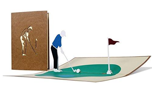H15 Golf Grußkarte, 3D Geburtstagskarte für Golfer, Golf Geschenk für Männer, Pop Up Golf Karte zum Ruhestand, Rente Geldgeschenk, Golf Gutschein, Gutschein