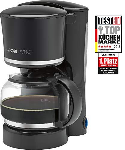 Clatronic KA 3555 Cafetera eléctrica de Goteo automática, máquina café de Filtro Capacidad 8 a 10 Tazas, 1,25 litros, función de mantenedora Calor, Libre BPA, 870 W, Negro