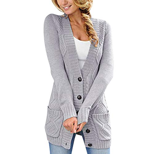 GreatestPAK Damen Strickpullover Lange Ärmel V-Ausschnitt Knöpfe Einfarbig Jacke Vordertaschen Cardigan Sweater Button Down Mantel - Grau Fischgrat-jacke