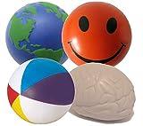 Stressballs 4 x Gemischte Antistressball (Orange Smiley, Globe, Gehirn & Wasserball) - Smiley Stress Ball, Stressballs