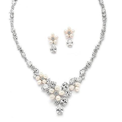 Mariell véritables perles d'eau douce et cz Formel ou de mariage collier boucles d'oreilles Ensemble de bijoux–Plaqué Platine