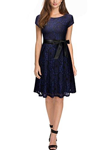 Miusol Damen Elegant?Bogen Guertel Hochzeit Brautjungfer Mini Spitzenkleider Abendkleider Navy Blau Gr.3XL -