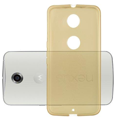 Lenovo (Motorola) Google NEXUS 6 / 6X Silikonhülle in DURCHSICHTIG GOLD von Cadorabo - Ultra Dünn Slim Design TPU Schutzhülle – Handyhülle Bumper Back Case Cover in TRANSPARENT GOLD (Nexus 6 Slim Case)