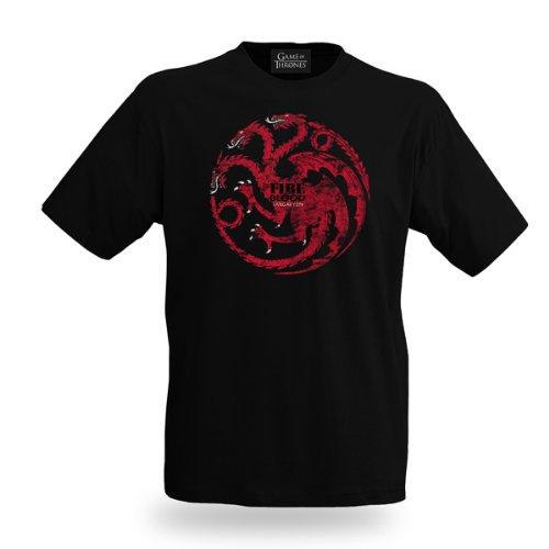 Game of Thrones - Lied von Eis und Feuer Targaryen Drachen T-Shirt Elbenwald schwarz Schwarz