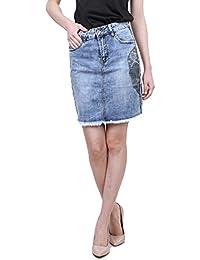 Falda lápiz Corta Tejana Azul Minifalda Casual Fashion deshilachada con  cráneo Talla L 57d0813453c7