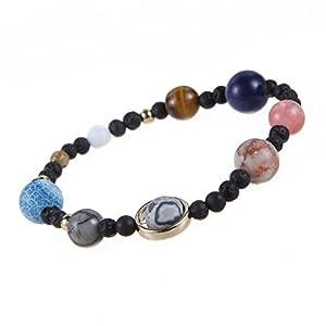 Naturstein Armbänder, Morbuy Galaxie des Universums Lava Stein Guardian Star Armband Unisex Elastizität Naturstein Yoga Armband Armreif