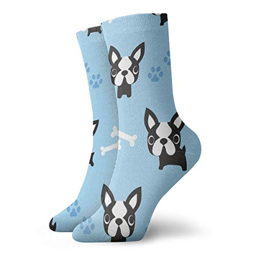 Cute French Bulldogs Blue Men's Classics Cotton Dress Socks Flat Knit Fashion...
