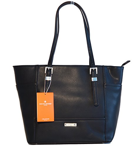 Borsa donna David Jones in ecopelle modello shopper Nero