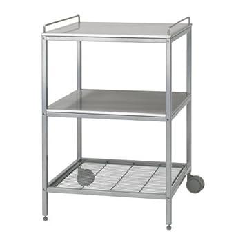 Küchenwagen ikea  IKEA UDDEN Servierwagen in silberfarben; aus Edelstahl: Amazon.de ...