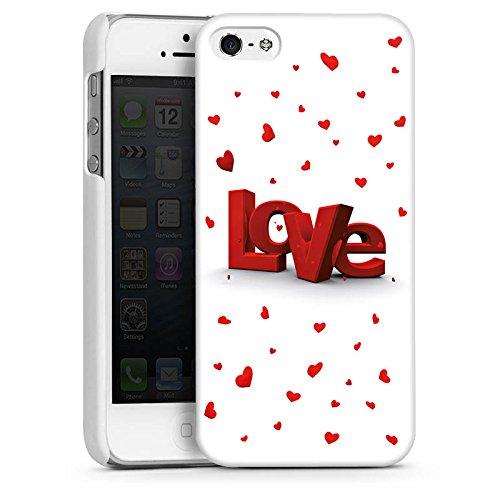 Apple iPhone 5s Housse Étui Protection Coque Amour Motif vue 3D Petit c½ur CasDur blanc