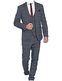 Marc Darcy Suit Mens Blake Tonal Check Tweed Three Piece Suit in 1//Tan
