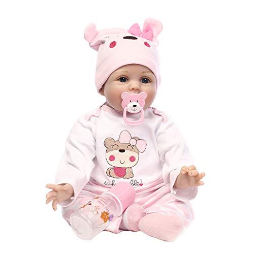 WDTongReborn Puppe Lebensechte Kinder Kinder Spielzeug Schlaf Playmate Rosa Cartoon Hut Beanie Hoodie Mit Nippel Flasche Kostüm Ganzkörper Neugeborenen Simuliert Blaue Augen Puppen Outfit