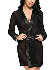 Xs and Os Women Mesh Robe with Satin Border Babydoll Lingerie (with Panty/G-String)
