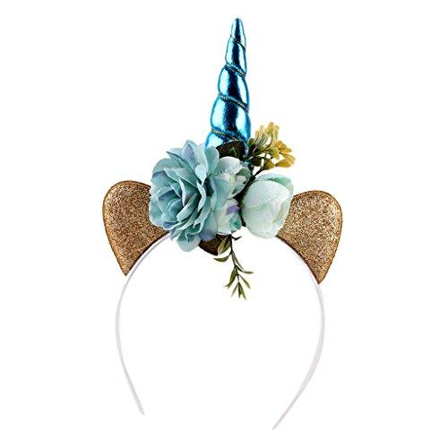 Einhorn Kostüm Kinder Blau - Sharplace Einhorn mit Ohren Blumen Haarreif