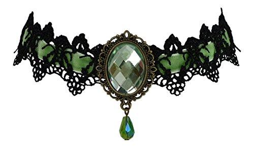 Trachtenschmuck Dirndl Kropfband Collier - Spitze schwarz - Samtband - Anhänger Kristall (Peridot grün)