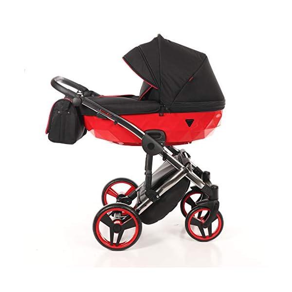 Baby PRAM Pushchair Set JUNAMA Diamond S-LINE BABYWAGEN Buggy BABYSCHALE + ZUBEHÖR (01 Rot-Schwarz, 3in1) JUNAMA Lockable swivel wheels Light alluminium chassis 2 separate modules - baby tub, sport seat 1