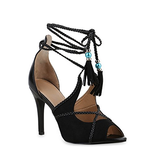Damen Party Sandaletten Schaftsandaletten Lack High Heels Nieten Schnürungen Fransen Lace Up Schuhe 136247 Schwarz Schnürer 36 Flandell