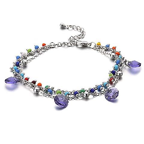 """Swarovski Elements Tanzanite """"Liberta"""" Charme Bracelet"""