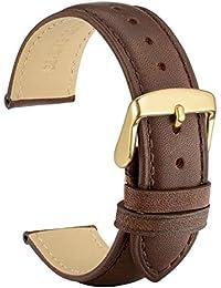 WOCCI 18mm Correa de Reloj Vintage de Cuero para Mujer Hombre, Correa de Repuesto Marrón Oscuro