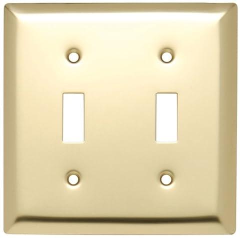 Pass & Seymour SB2PB Wall Plate Smooth Polished Brass Two Gang Two Toggle Easy Install