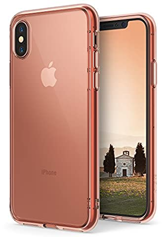 iPhone X Case, Ringke [FUSION] Crystal Clear Transparent PC Back TPU Bumper [Drop Protection/Shock Absorption Technology] Scratch Resistant Natural Shape Cover For Apple iPhoneX - Rose Gold Crystal