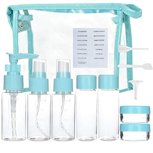 Sonnencreme Flasche (Hey~Yo 10 stück Reise Flaschen, Reiseset, Körperpflege Flüssigkeitsbehälter Leakproof Tragbare Reise Zubehör, mit Flugzeug Tasche, Handgepäck, Kosmetiktasche Reiseflaschen (Blau))