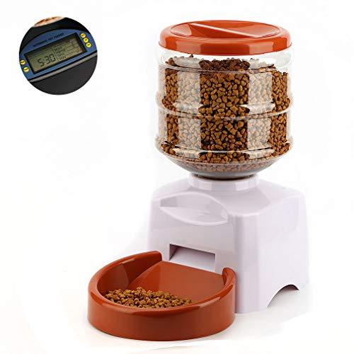 Kayleeolivi Futterautomat Katze, Futter und Wasserspender,Automatischer Futterspender für Katze und Hunde mit Timer/LCD Bildschirm/Ton-Aufnahmefunktion, 5.5 L (Weiß)
