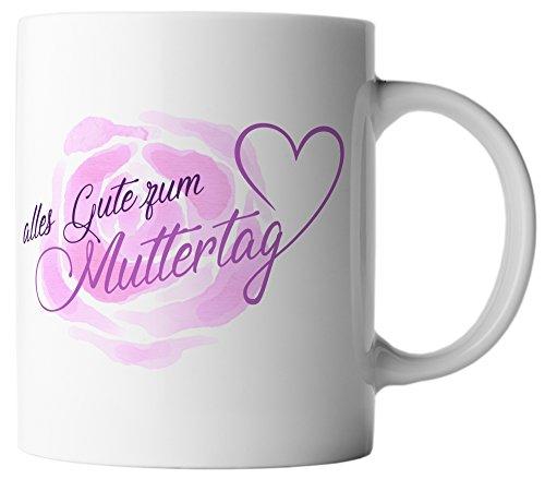 vanVerden Tasse Muttertag Blume Rose Herz Mama Geschenk Mutter inkl Geschenkkarte, Farbe:Weiß/Bunt