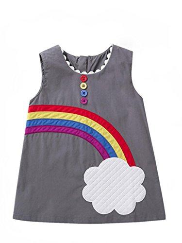 Baby Jungen Mädchen Cute Summer Cotton Kleid Regenbogen Wolke Muster Weste Rock (Gray, 6 monat)